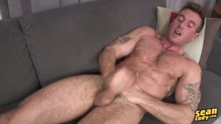 ripped guy jacks off furiously