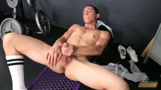 skinny twink stroking his long boner