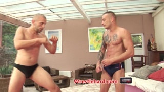sexy euro men wrestling for the top