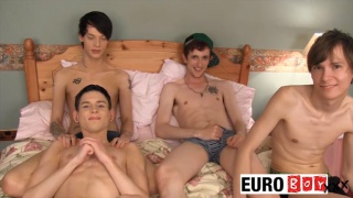 Can these four twinks pull off the ultimate gangbang?