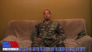 hung black sergeant beats off in his camies