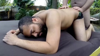 horny cubs fuck outdoors on table