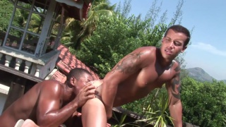latin muscle hunks fuck outdoors