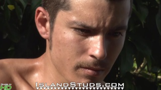 Hung Uncut mexican Boxer jacks off outside
