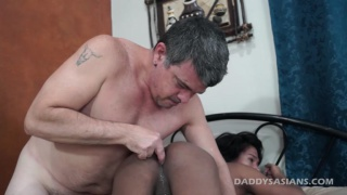 Daddy Fucks long-haired asian guy