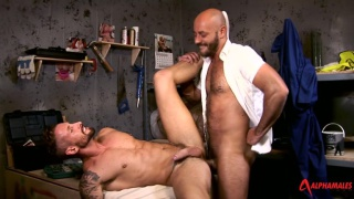 nick feeds on bruno's big uncut cock in workroom