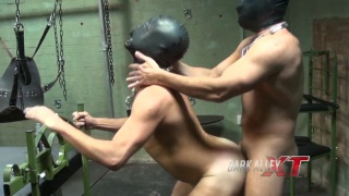 kinky barebackers start off playing with hoods