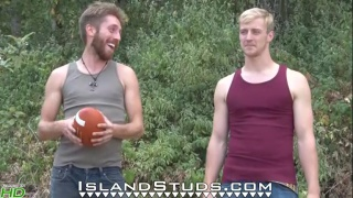 straight football buddies toss ball naked