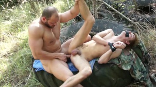 bottom gagged with duct tape gets fucked outdoors