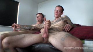 Gunner and Joshua stroke each other before head