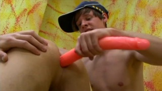 top gets his hole deep dicked with long dildo