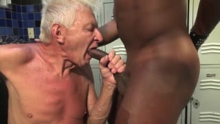 black stud gives his big dick to grandpa