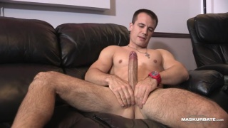 Ricky strokes his huge cock in his home