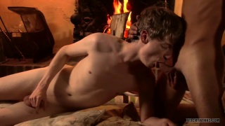 horny fuck buddies screw by fireplace