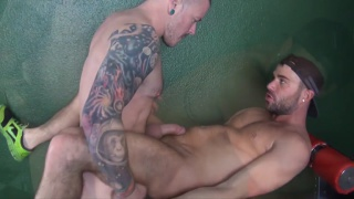 Barebacking in the Bathhouse with Max Cameron and alex mason