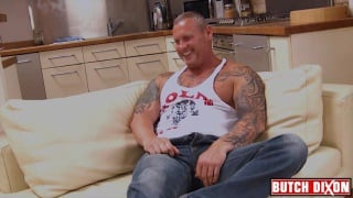 muscle daddy big-t jacks his long cock