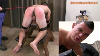 ethan bends over the whipping bench for a caning