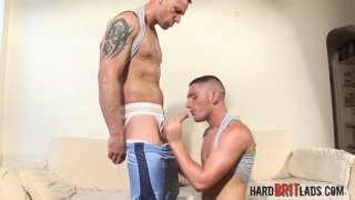 two lads deep throating each other