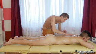 young lad gets a rubdown and fuck on the massage