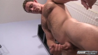 chiseled college guy jacks off