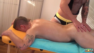 hunky blond masseur fucks his client