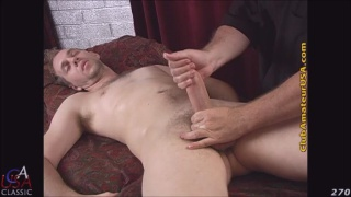furry hunk Dermot gets serviced on massage table