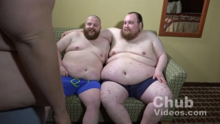 Two chub service another man's cock