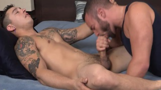 tatted stud throat fucks noah riley