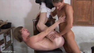 twink gets bent over chair and fucked bare
