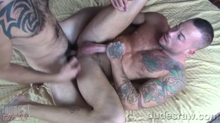 Sean Duran and Jimmie Slater bareback flip fuck