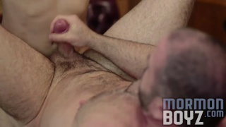hairy bishop takes a big mormon cock