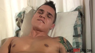 beefy guy matt richie pulls out his uncut dick and strokes