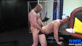 stud gets his beefy ass bare fucked in gym