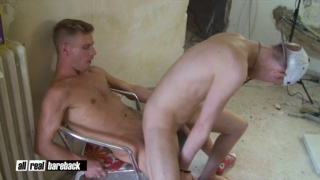 Construction worker bare fucks twink bottom slut