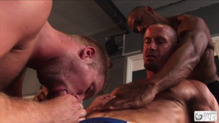 2 muscle tops have a go on blond's ass