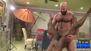black guy takes bald daddy's big cock