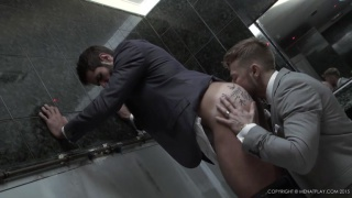 businessmen suck cock in toilet on their lunch hour