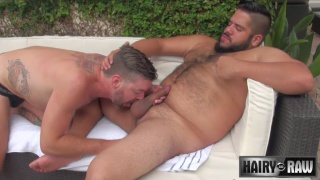 bearded hipster raw fucks his buddy outside