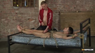 Dmitry roped to the bed and roughed up