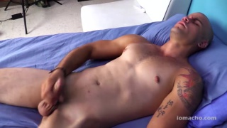 bald latino oscar jerks his big cock