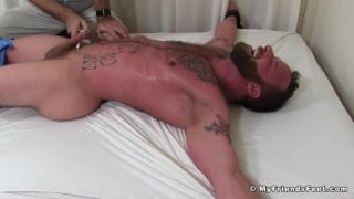 hairy hunk Derek parker strapped down and tickled