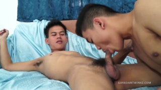 two shy asian twinks fuck in bed