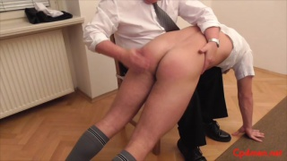 peter goes over the master's knee for a spanking