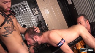 bearded silver daddy joins two fuck buddies
