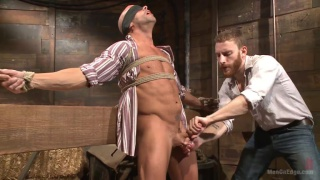 Hot cowboy tied up and jacked off