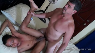 Javey gets fucked and Eats Daddy's Cum