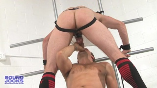 bound Lucas Knight fucked in the locker room