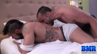 gabriel fisk slips into his roommate's bed and fucks him
