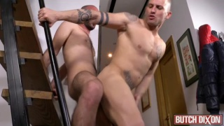 bald power bottom gets his arse drilled with uncut cock