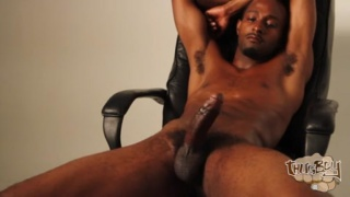 tall brotha plays with his huge cock